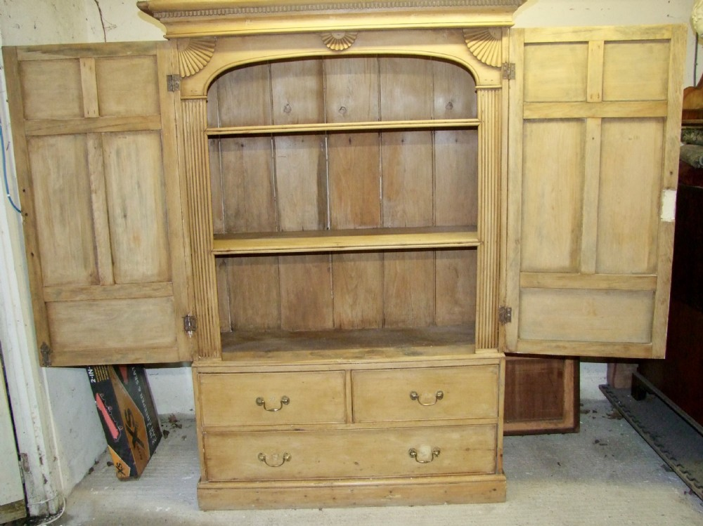 large 19th century pine housemaids cupboard