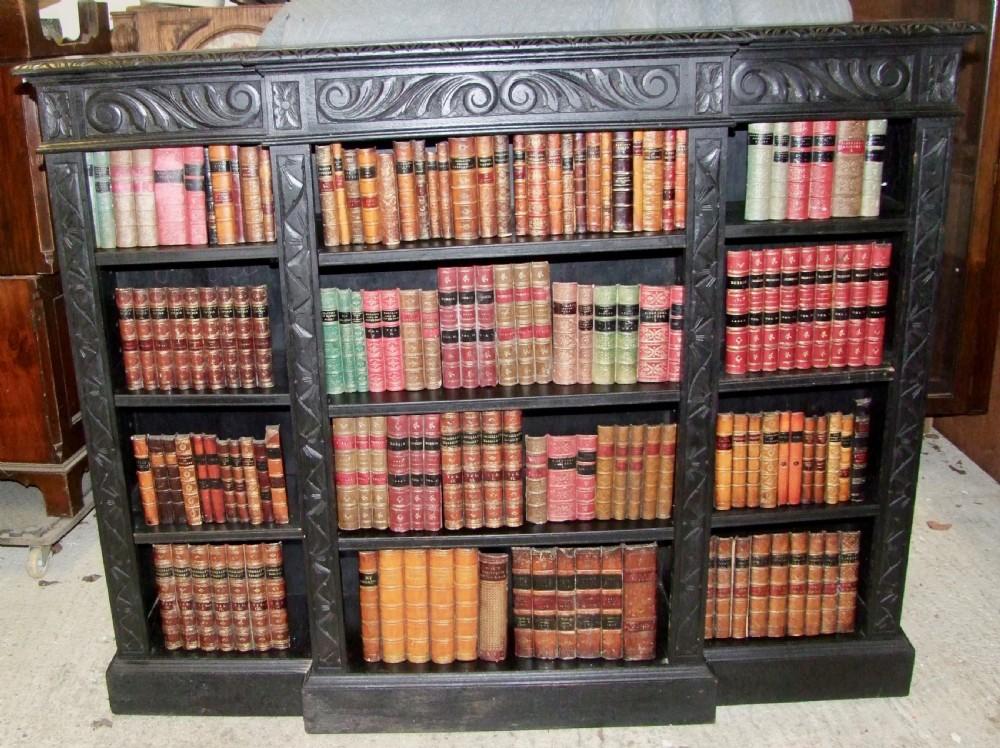 19th century ebonised oak breakfront open bookcase