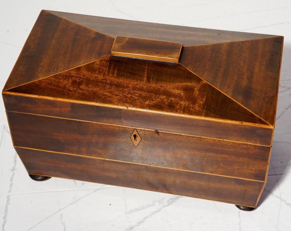 mahogany and boxwood lined tea caddy circa 1800s
