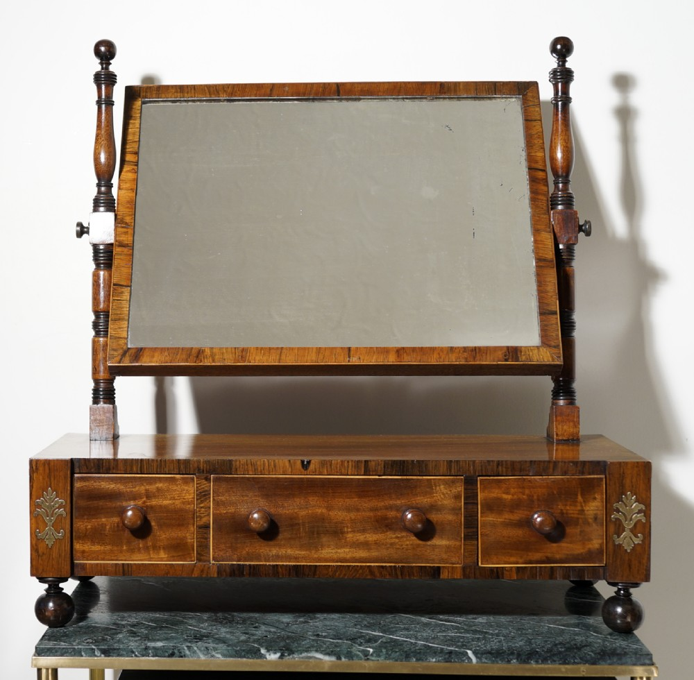 a good regency threedrawer oak lined mahogany and rosewood with boxwood stringing toilet mirror