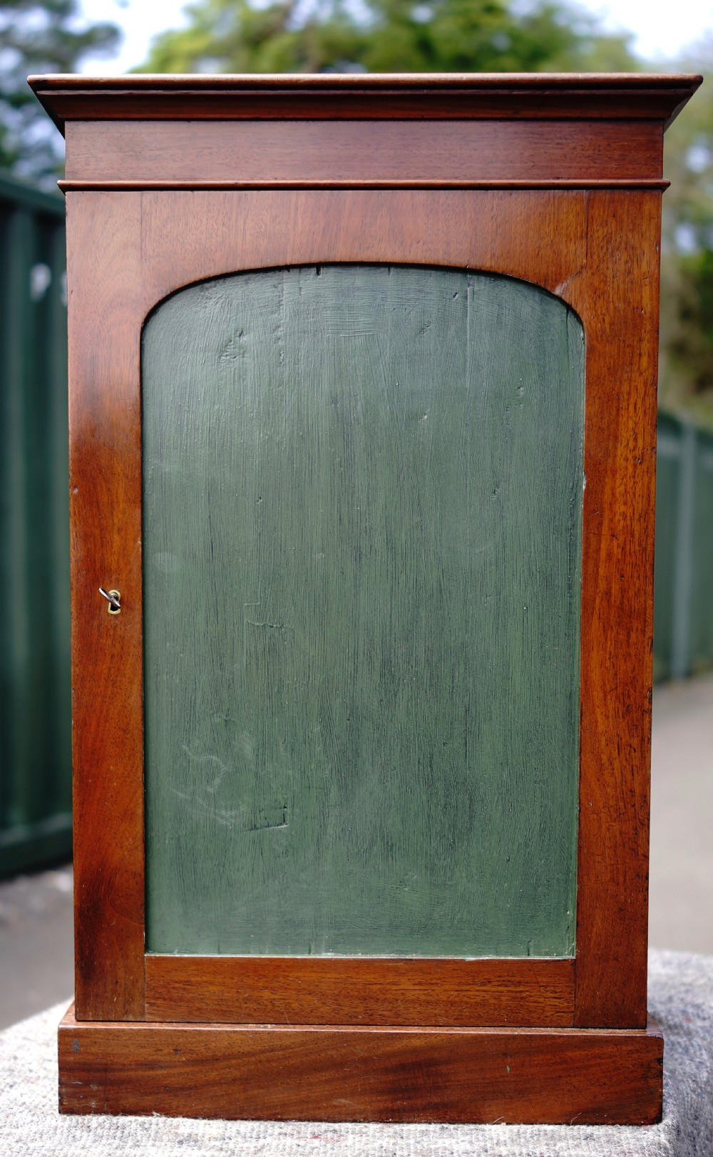 mahogany collectors cupboard with lift up lid circa 1840
