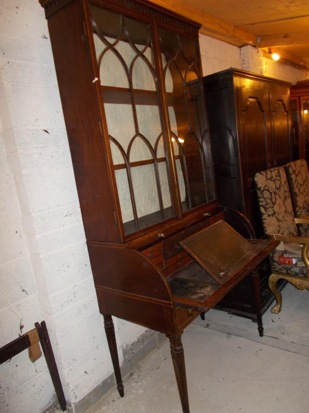 19th century inlaid mahogany cylinder bureau bookcase