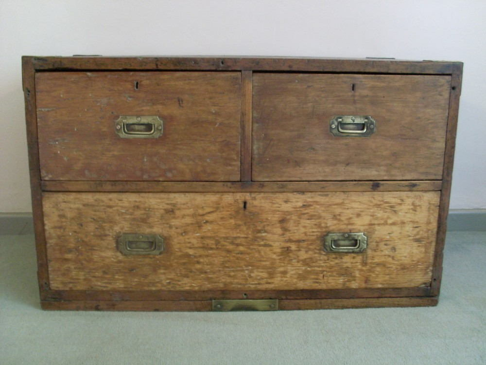 A Low 19thc 3 Drawer Storage Chest Unit With Military Brass Handles