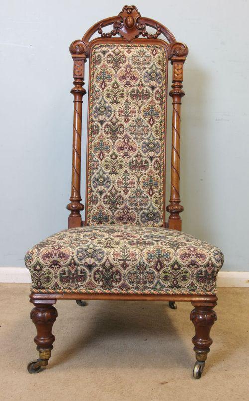 victorian walnut high back ladies occasional nursing side chair. antique  photo - Victorian Walnut High Back Ladies Occasional Nursing Side Chair