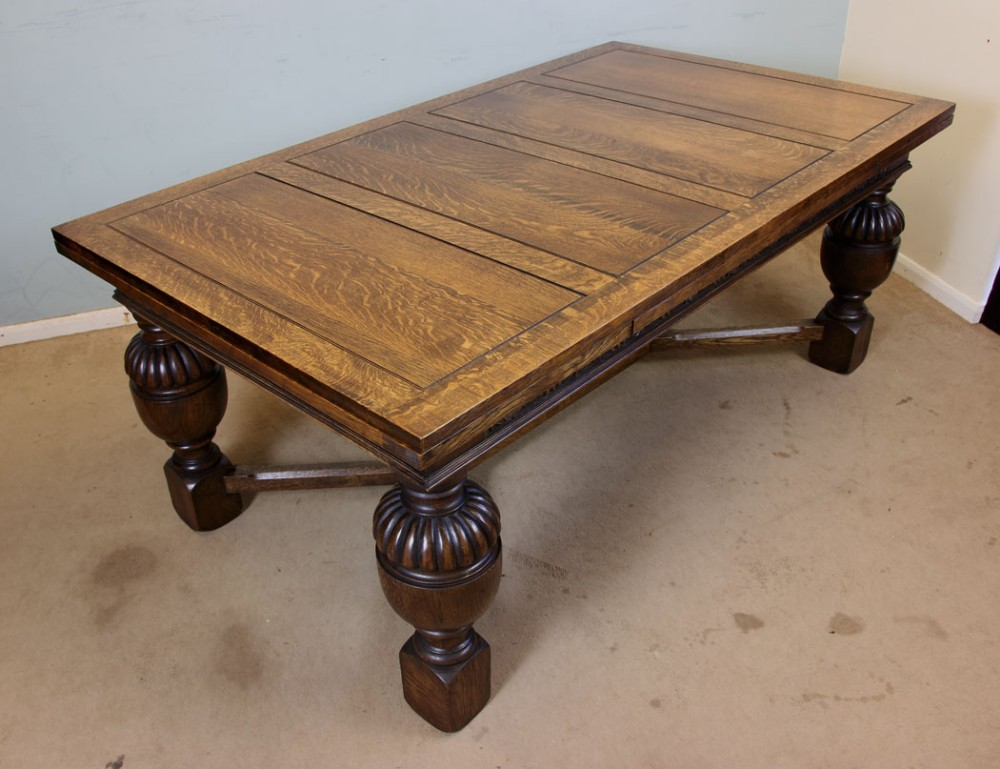 Antique Oak Refectory Draw Leaf Farmhouse Kitchen Dining Table