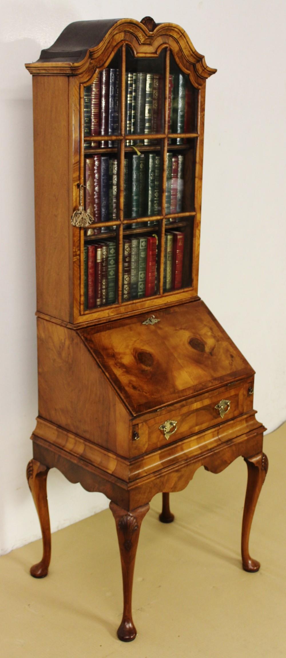 burr walnut bureau bookcase