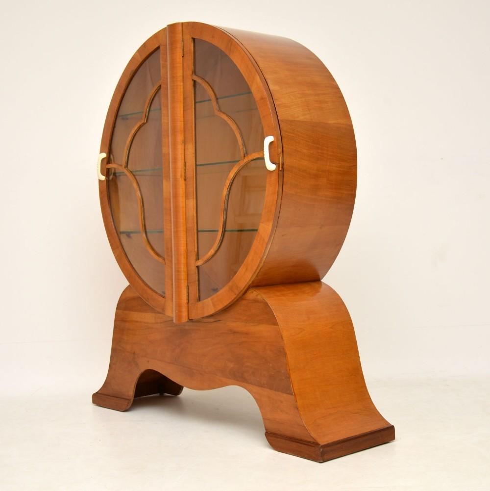 1930s original art deco walnut cabinet