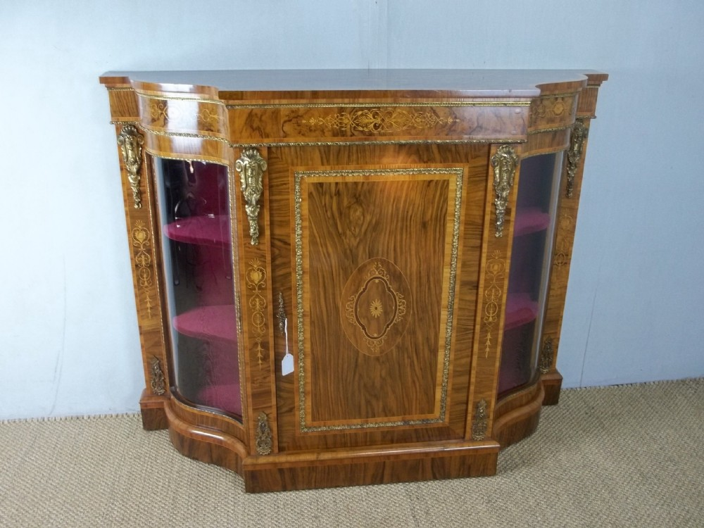 antique 19th century serpentine shaped figured walnut inlaid ormolu mounted small narrow credenza display side pier sideboard cabinet c1860