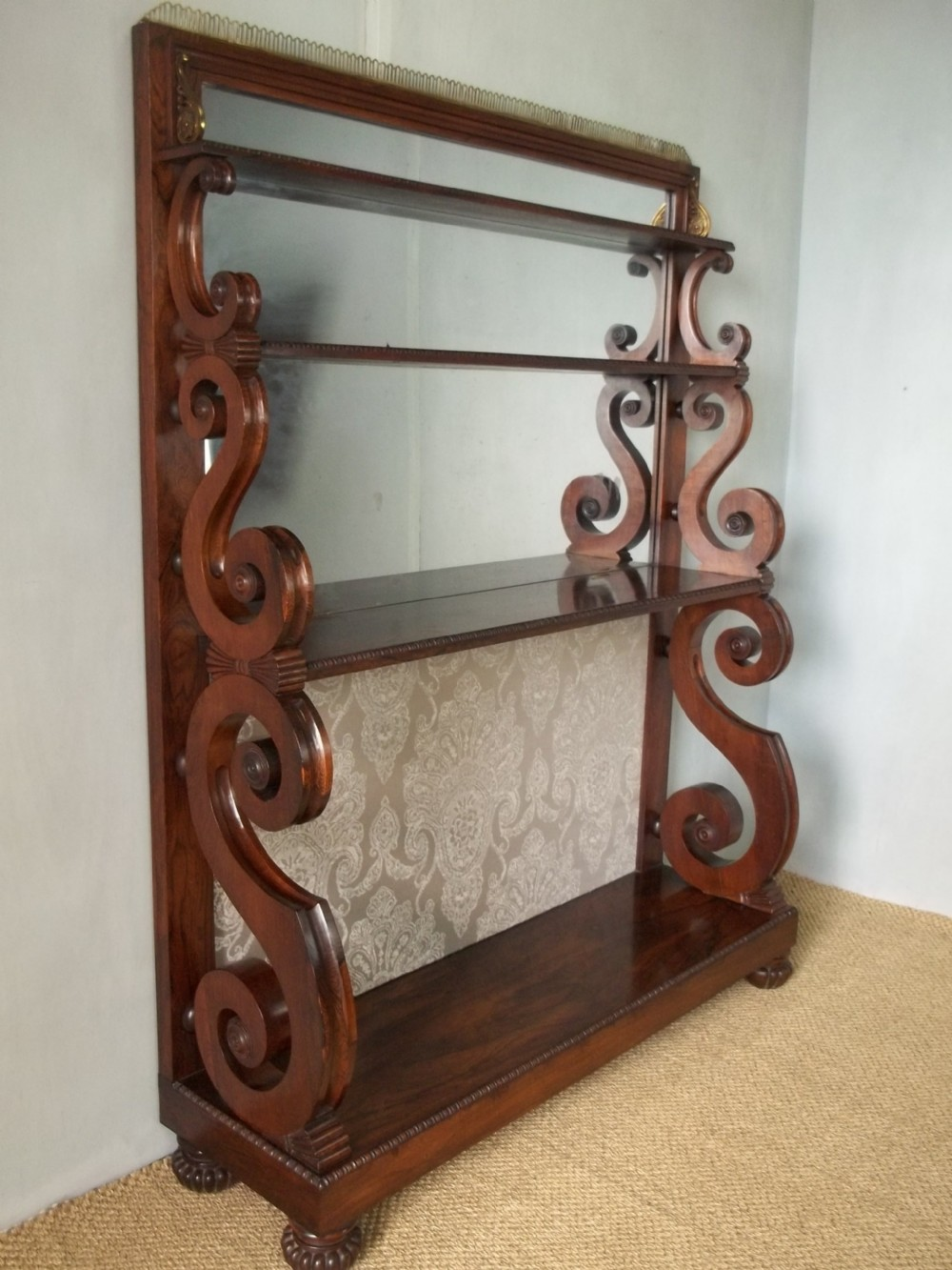 antique gillows regency georgian 19th century rosewood waterfall bookcase c1815