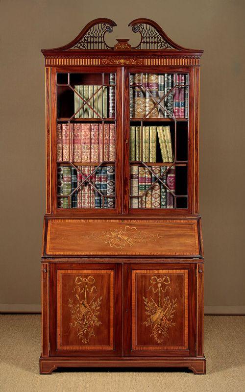 exceptional inlaid mahogany bureau bookcase by edwards roberts c1905