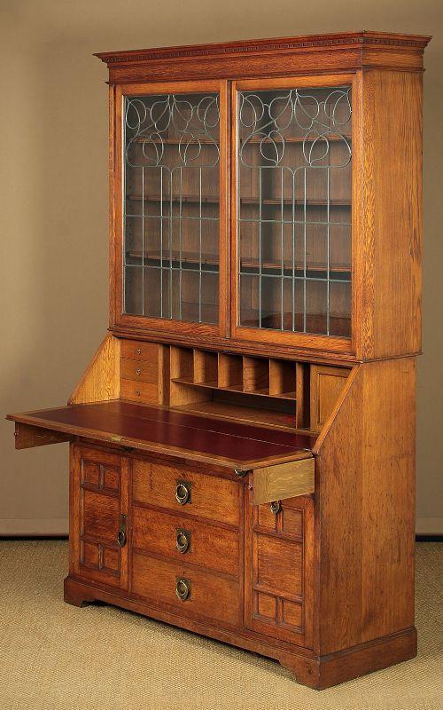 large arts crafts oak bureau bookcase c1910