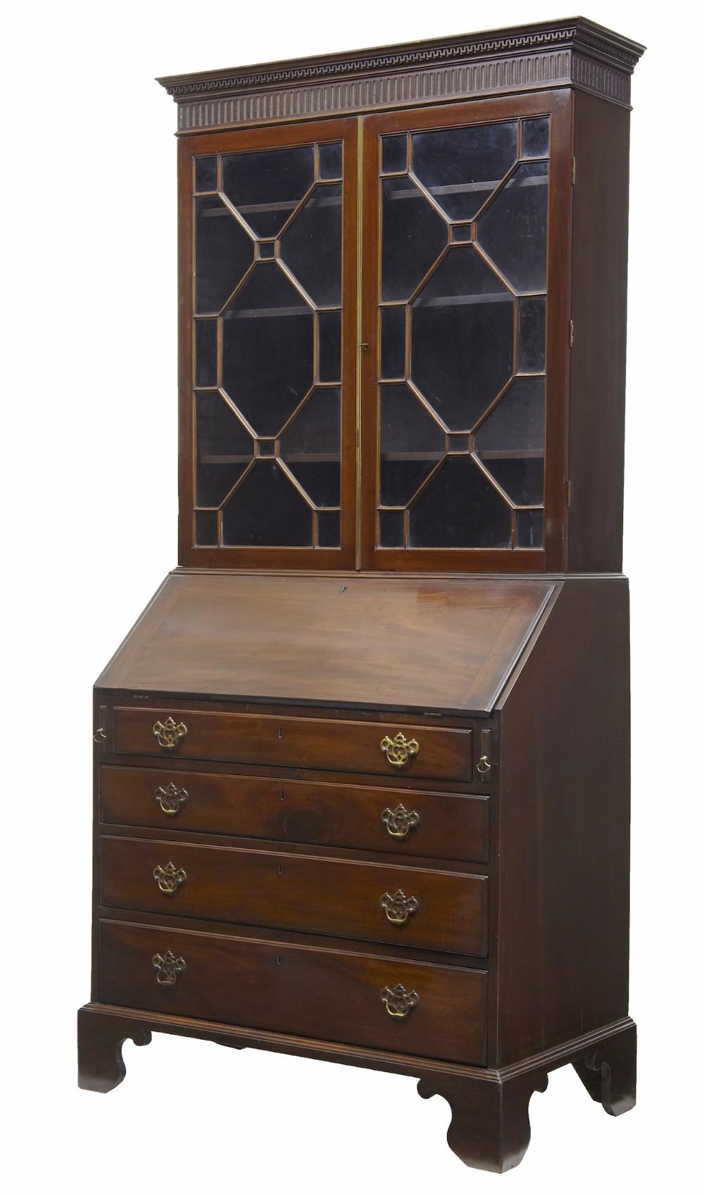 19th century early victorian mahogany bureau bookcase
