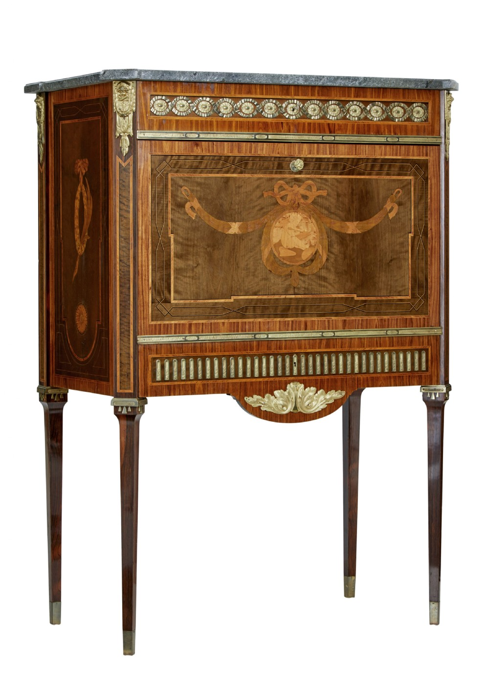 1930's inlaid swedish marble top secretaire