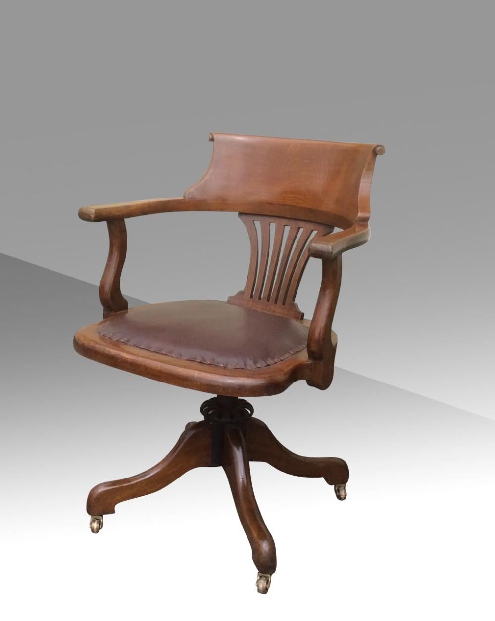 Antique captains chairs - Extremely Comfortable Swivel Tilt Antique Captains Desk Chair