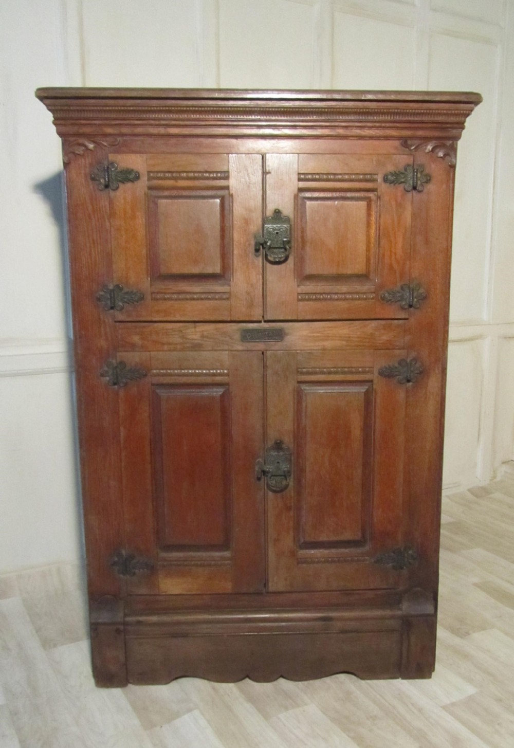 american vintage wooden refrigerator or ice box from the late 19th century