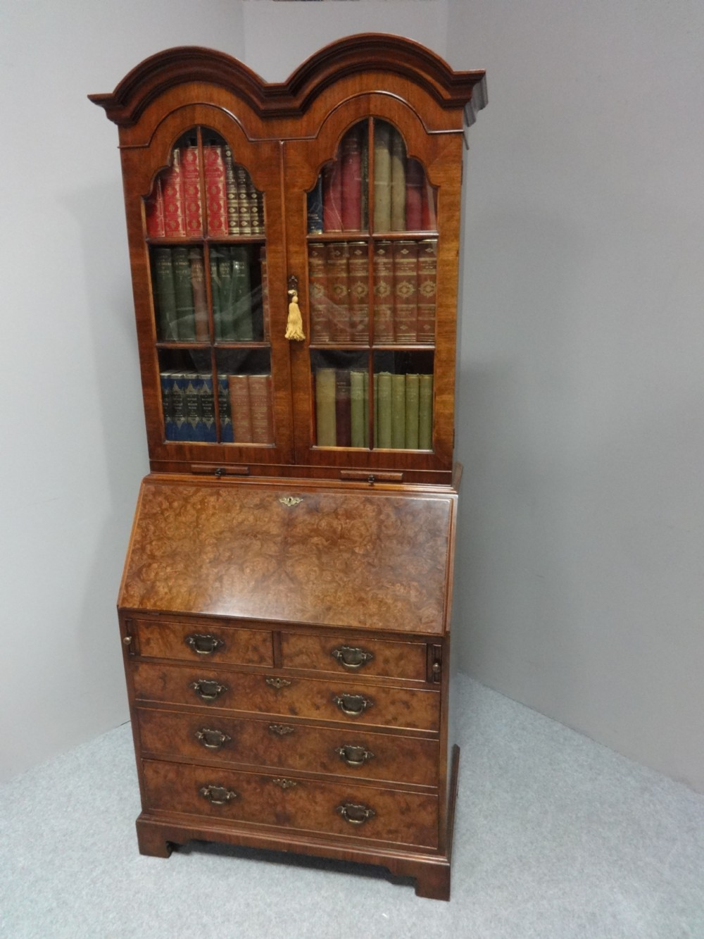 top quality double domed walnut bureau bookcase