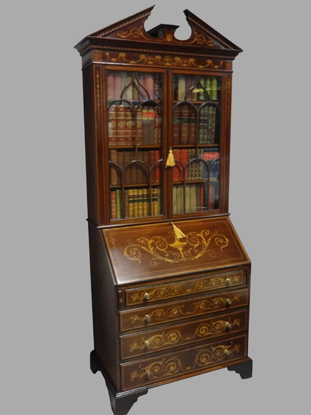 outstanding inlaid mahogany bureau bookcase