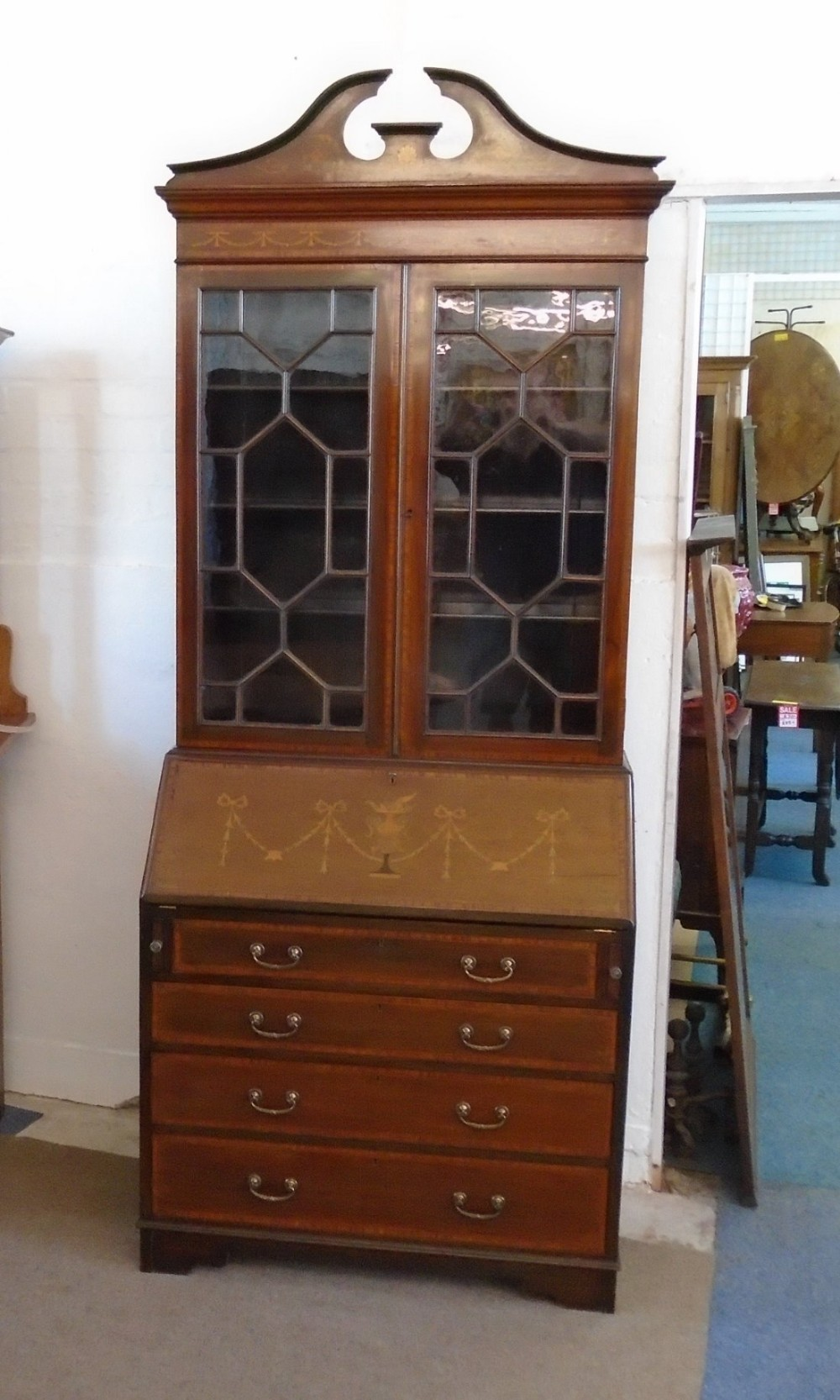 georgian revival inlaid mahogany bureau bookcase