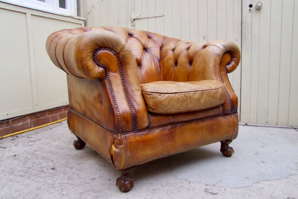 large tan leather library chair with lovely patina chesterfield style