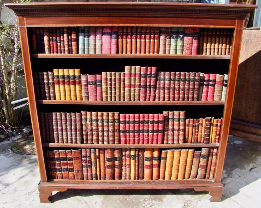 edwardian inlaid open bookcase in mahogany