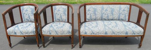edwardian inlaid mahogany tub shaped settee matching armchairs