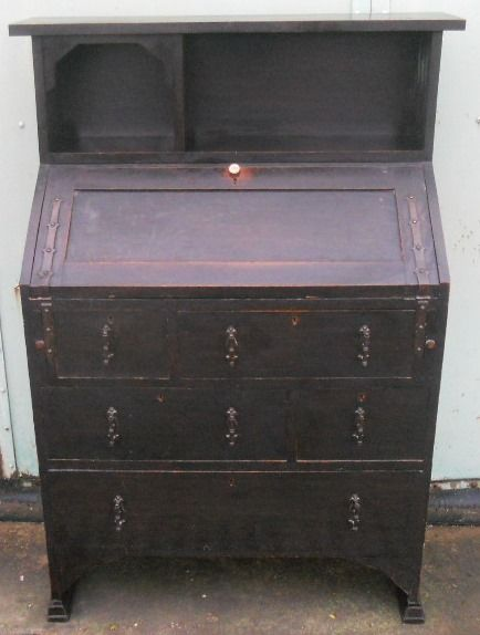 arts craft small oak bureau bookcase