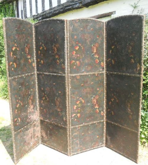 antique decorated four fold tall screen