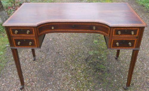 edwardian inlaid mahogany kneehole writing desk