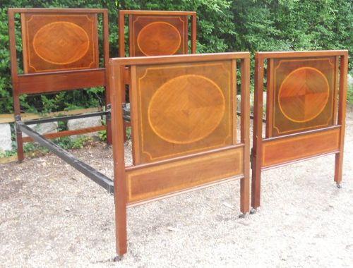pair edwardian inlaid mahogany single beds
