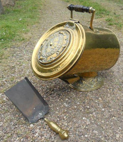 victorian brass coal box