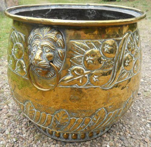 edwardian brass log bin