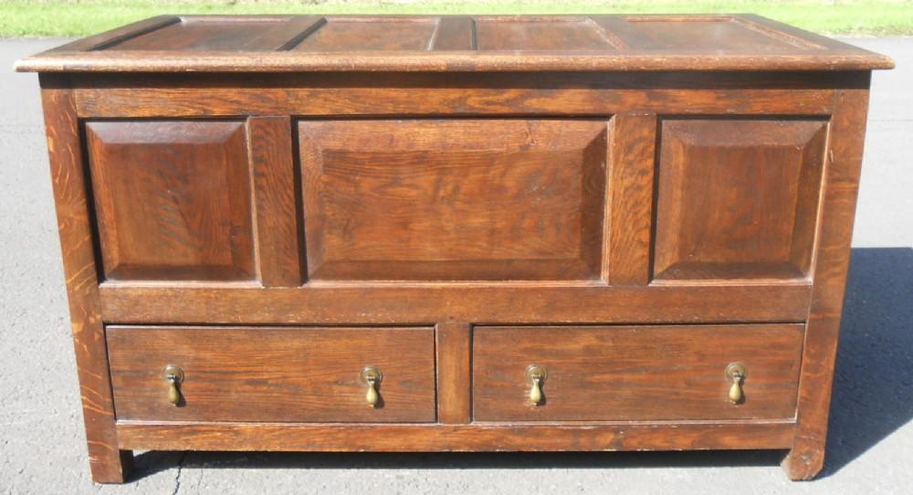 victorian panelled oak mule chest
