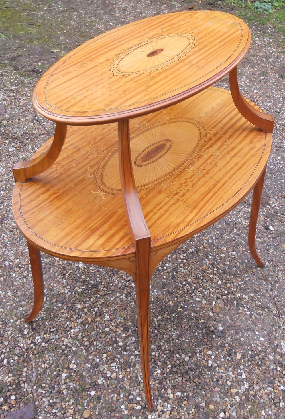 edwardian satin wood two tier centre occasional table