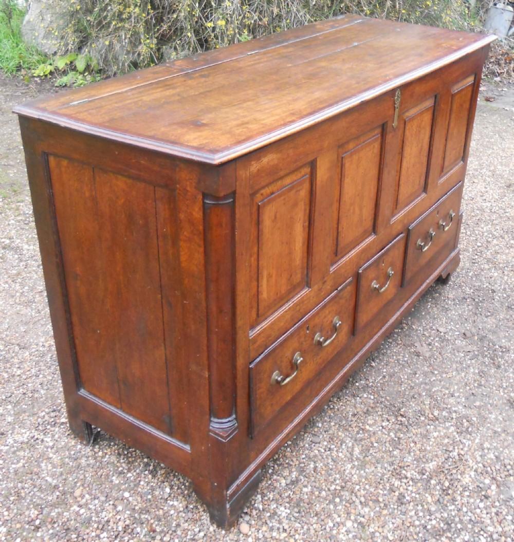 georgian lancashire panelled oak mule chest