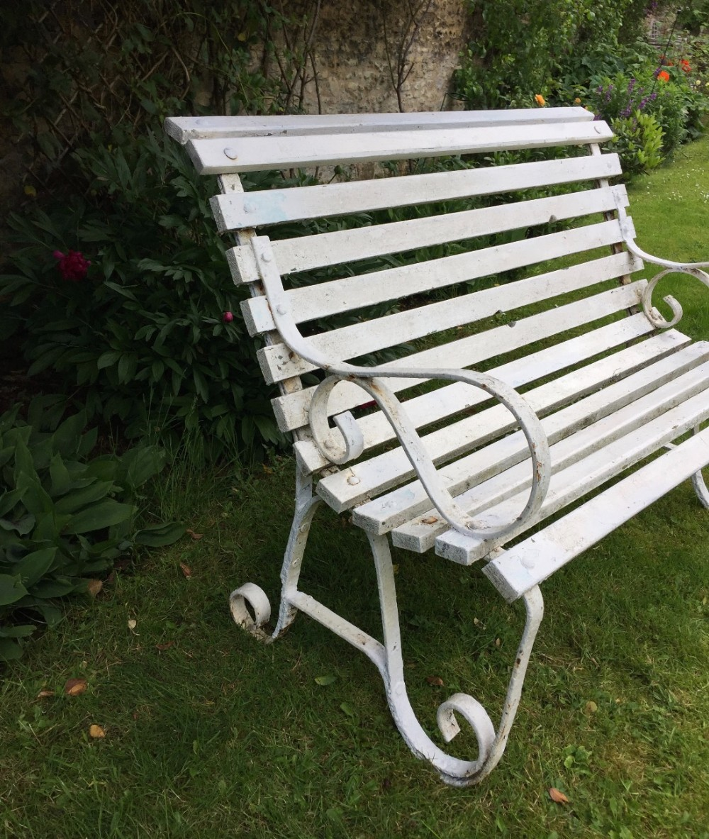 Small edwardian wrought iron slatted wood garden bench for Small garden bench