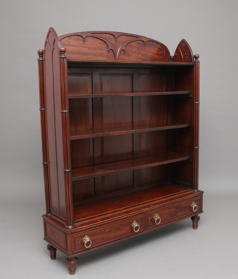 19th century mahogany open bookcase in the gothic style
