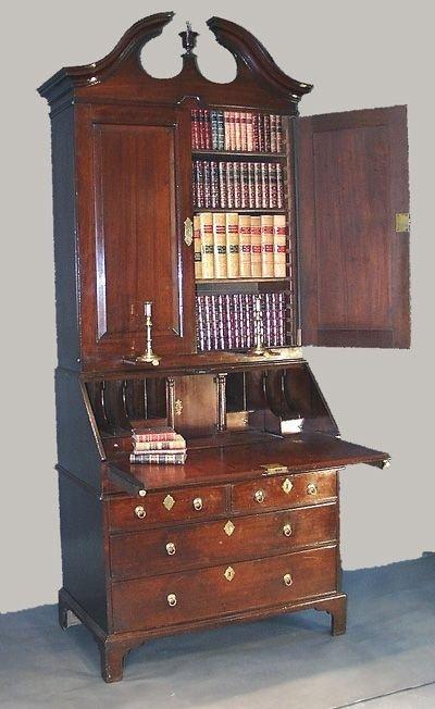 george ii mahogany bureau bookcase with swan neck pediment