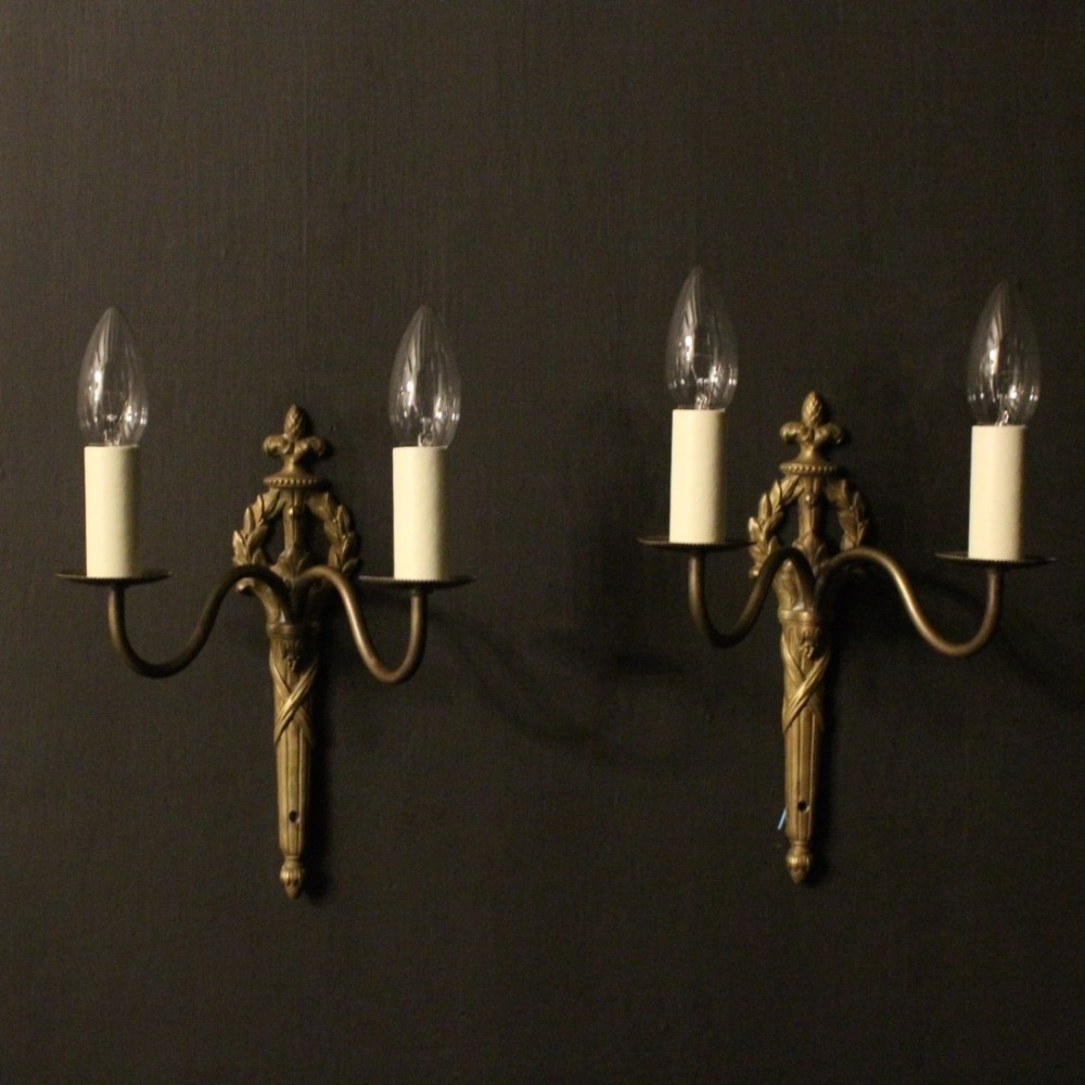 French Pair Of Twin Arm Antique Wall Lights 471268 sellingantiques.com