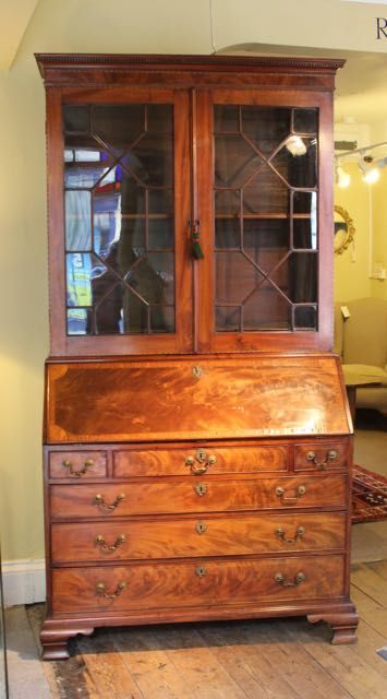 18thc mahogany bureau bookcaseof wonderful quality colour patina