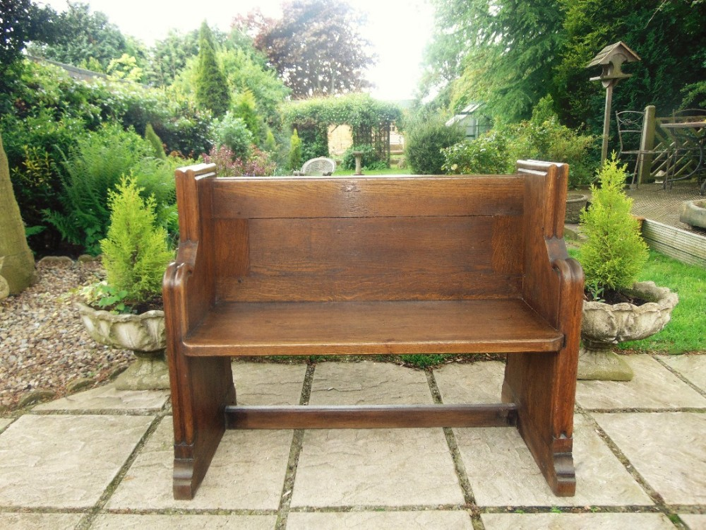 Pleasant Small Victorian Oak Pew Bench Hall Seat 12 Available Lamtechconsult Wood Chair Design Ideas Lamtechconsultcom