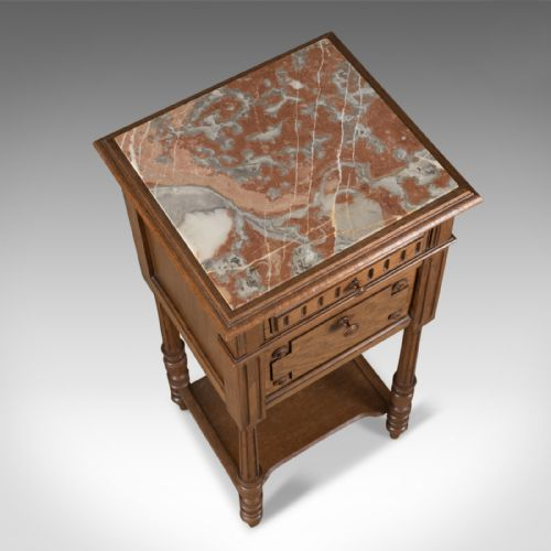 Date Of Manufacture - Antique Pot Cupboard, French, Marble Top, Bedside Cabinet