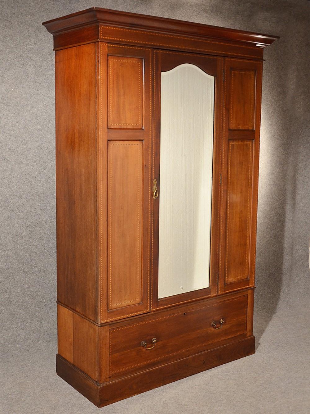 antique wardrobe with mirror Antique Wardrobe Armoire Mirror Door Maple & Co Quality English  antique wardrobe with mirror