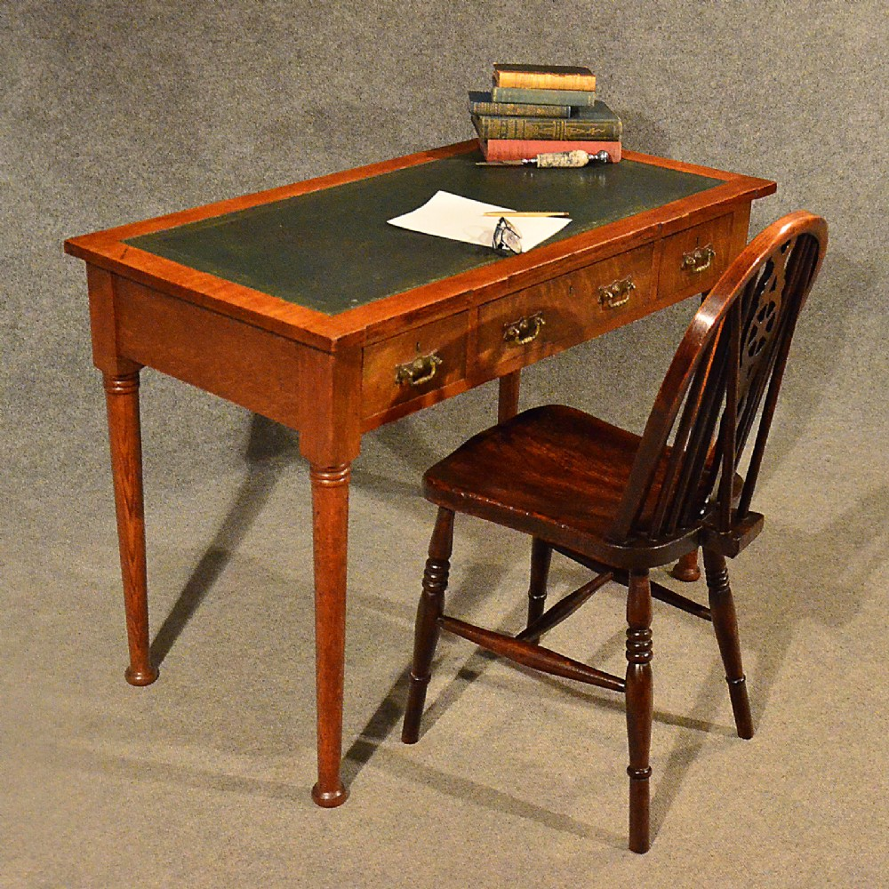 antique desk leather top library writing study table edwardian english c1900 - Antique Desk Leather Top Library Writing Study Table Edwardian