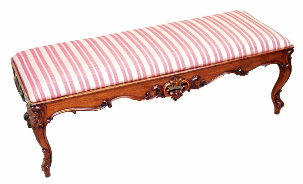 antique 19th century walnut duet stool