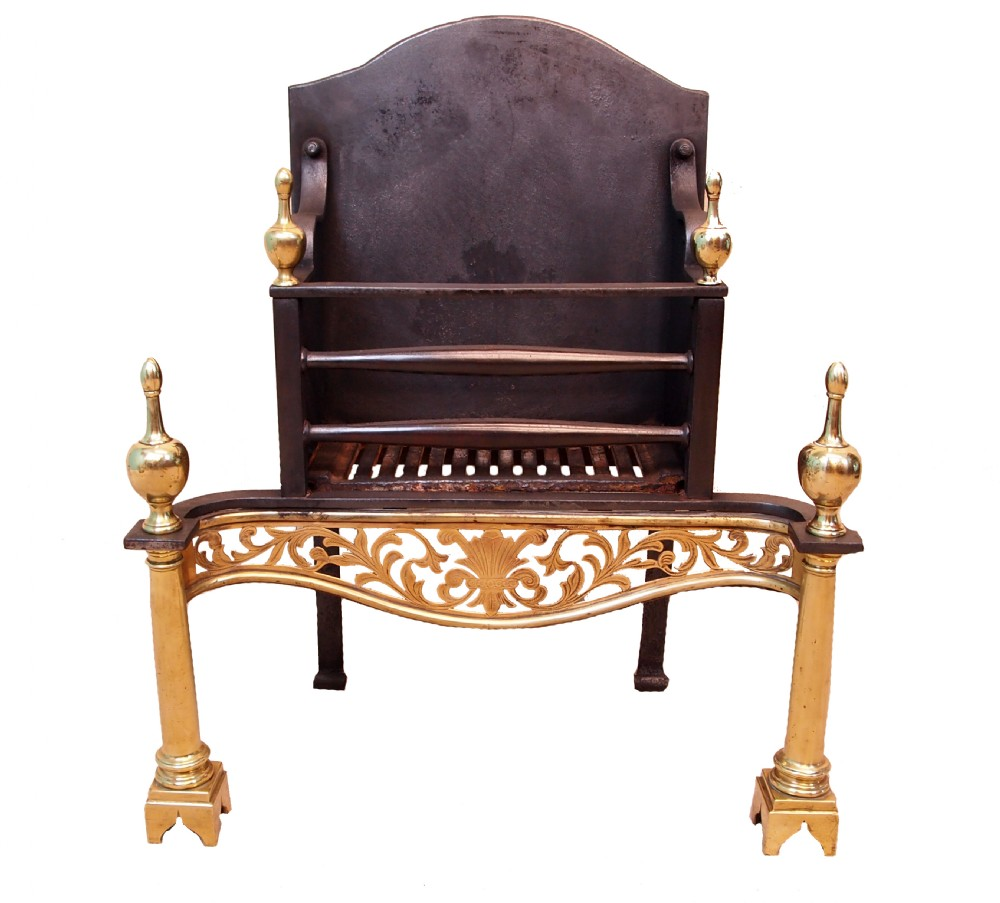 antique 19th century brass iron fire grate