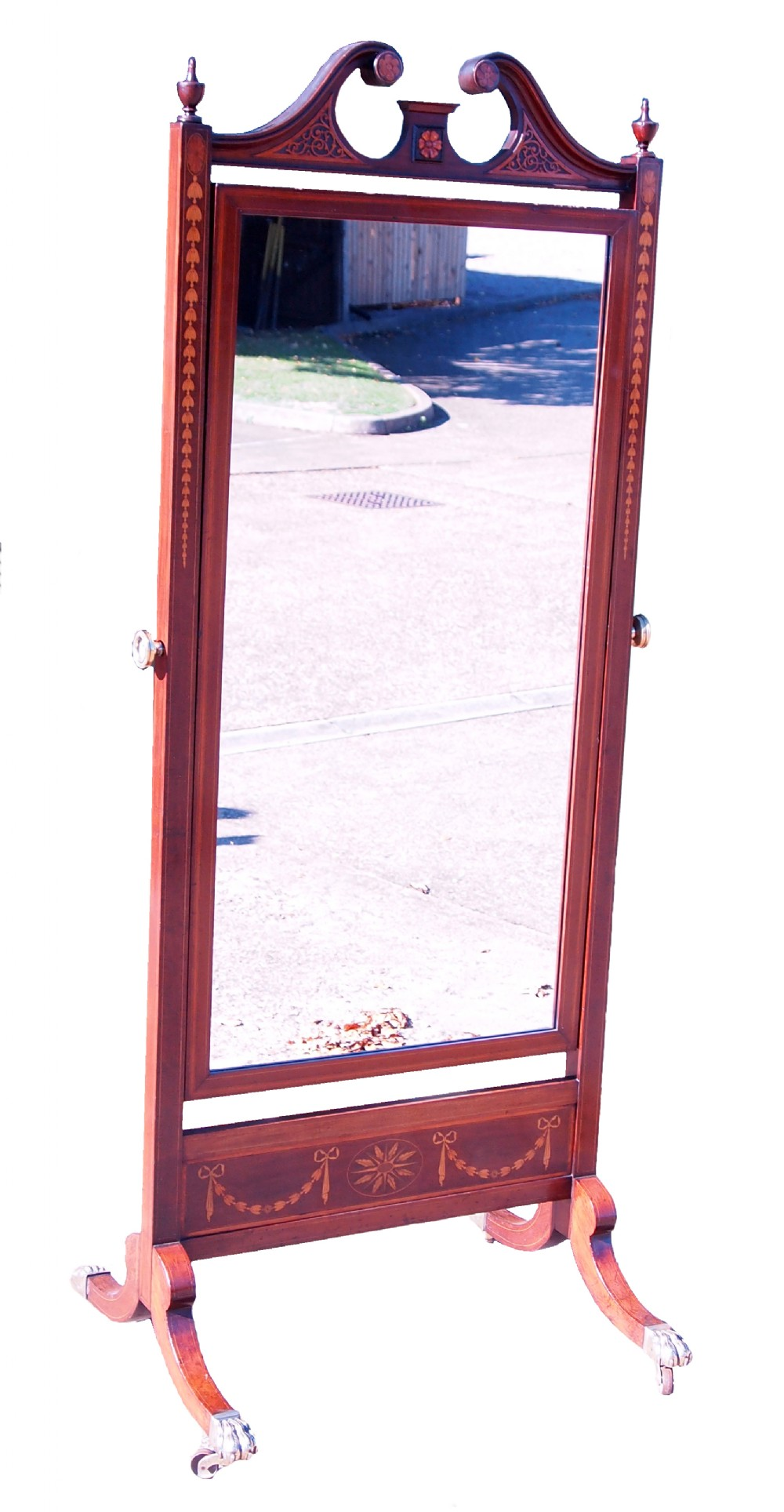 antique 19th century mahogany cheval dressing mirror