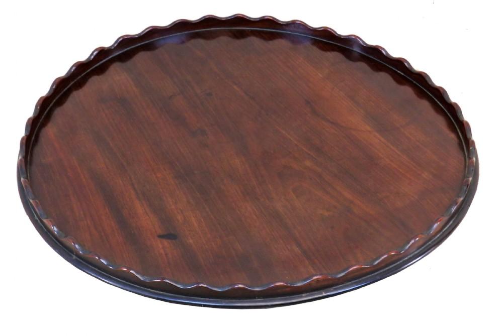 english 18th century mahogany georgian circular calling card tray