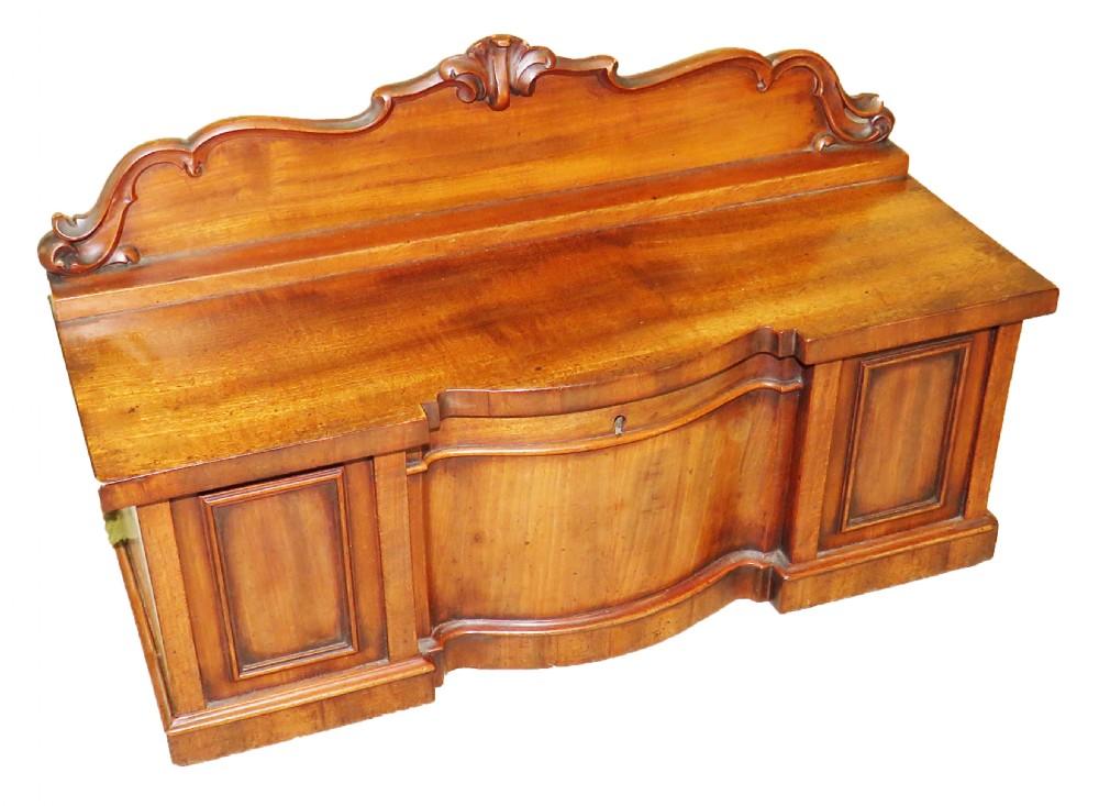 regency mahogany tea caddy miniature serpentine sideboard