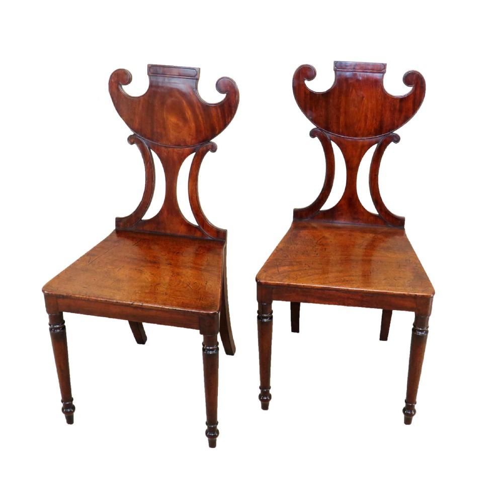 english regency mahogany pair of antique hall chairs