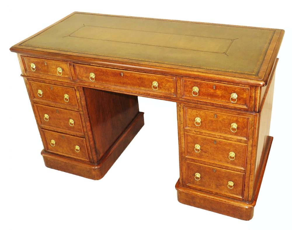 english 19th century burr walnut antique pedestal desk